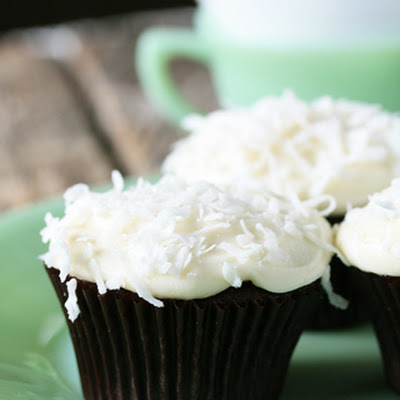 Chocolate Cupcakes with Coconut Cream Cheese Frosting