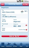 Screenshot of Hamburg Airport App