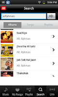 Screenshot of Raaga Hindi Tamil Telugu songs