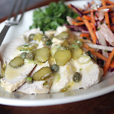Turkey Salad with Lemon, Capers, Mustard and Cornichons