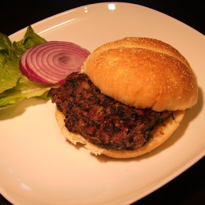Beef Burger with Spinach, Roasted Poblanos, and Caramelized Onions
