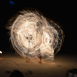 Dancing behind fire by Hass Fazz - Abstract Light Painting ( dancing, beachlife, woman, photo, dance, fire )