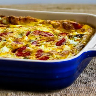Roasted Green Bell Pepper and Roasted Tomato Breakfast Casserole with Feta and Oregano