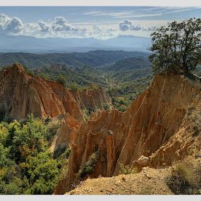 Melnik... by Стефан Стефанов - Landscapes Mountains & Hills ( landmark, mountain, relax, beautifull, pyramids, sandstone, view, yellow, morning, landscape )