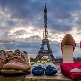 by Kshitij  Saxena - Artistic Objects Clothing & Accessories ( shoes, love, paris, family, eiffel, together, city, , golden hour, sunset, sunrise )
