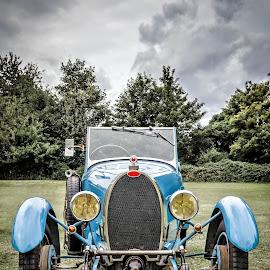 Bugatti by Jeremy Sage - Transportation Automobiles ( car, old, voiture polished, vintage, automobile, vehicle, retro, automotive, transport, headlights, blue, ;, nostalgia, classic, shiny )