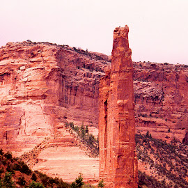 Spire at Canyon de Chille. by Walter Carlson - Landscapes Caves & Formations ( red, canyon, spirfe, tall, formation )