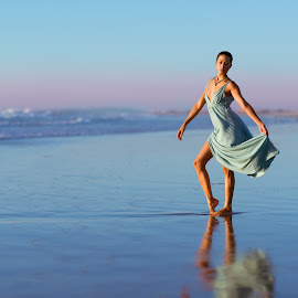 Dancing on the beach by Nikon Guy - People Portraits of Women ( water, girl, dress, beach, pretty, dance )