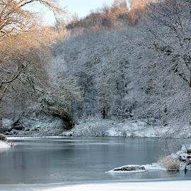 Cold January down the river. by Stephen Crawford - Landscapes Waterscapes ( waterscape, snow, river ayr, walk, annbank )