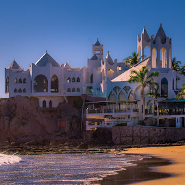 Castle on a Rock by Gary Hanson - Buildings & Architecture Office Buildings & Hotels ( mazatlan, rock, beach, hotel )