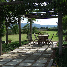 A Beautiful Spot for Lunch... by Roz Zillman - Artistic Objects Furniture