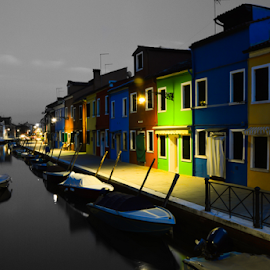 Burano LE by Toine Baken - Buildings & Architecture Public & Historical ( water, exposure, houses, boats, burano, long, canal, photography, colour, color, venice, veneto, bridge, homes, italy, Urban, City, Lifestyle,  )