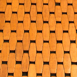 Pattern of wooden tiles in a floor mat by Stretch Clendennen - Abstract Patterns ( abstract, wooden, wood, floor mat, mats, artistic objects, geometric )