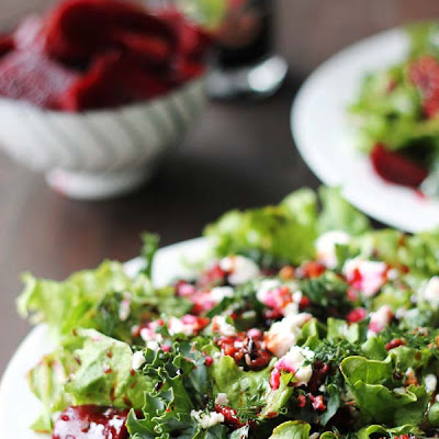 Pickled Beet and Goat Cheese Salad with Maple Roasted Pecans