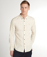 Farah Vintage cream 'The Blackthorn' cotton blend button front shirt