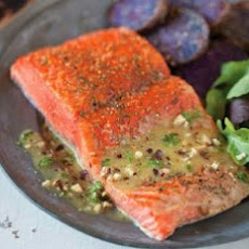 Cedar-Plank Sockeye Salmon With Hazelnut Vinaigrette Recipe