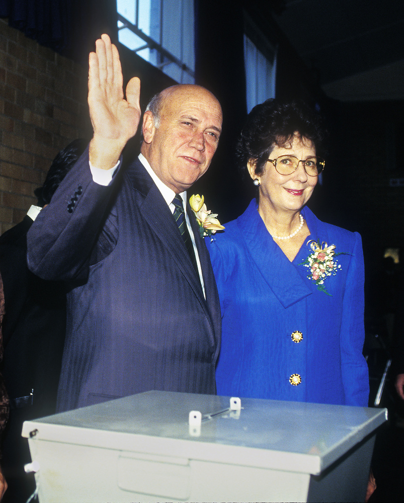 FW and Marietjie de Klerk vote in South Africa's first free and fair election