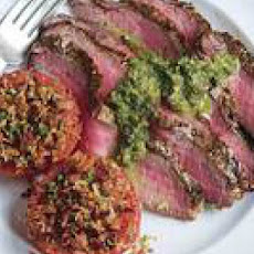 Sliced Steak with Parsley-Caper Sauce and Broiled Tomatoes with Bacon-Bit Breadcrumbs