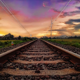 Rel Senja by Randi Pratama M - Instagram & Mobile Android ( railway, afternoon, sunset, indonesia, railroad )