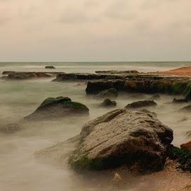 Beach by Costin Mugurel - Landscapes Beaches ( water, waves, sunset, beach, rocks )