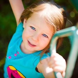 Blue eyes by Shane McKenzie - Babies & Children Children Candids ( happy, blue eyes, summer, kids, swing, portrait, kid )