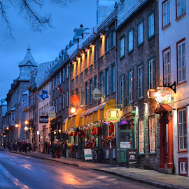 evening in Quebec by Sergey Timokhin - City,  Street & Park  Street Scenes ( street, evening, city )