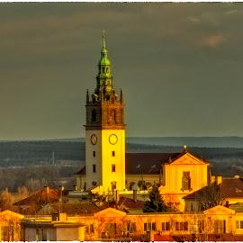Litoměřice in sunset by Petr Klingr - City,  Street & Park  Historic Districts ( church, hdr, sunset, leitmeritz, litoměřice )