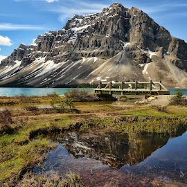 Bow Lake Reflection by Jeff Clow - Landscapes Mountains & Hills ( water, reflection, mountains, nature, lake, bridge, landscape, natural )