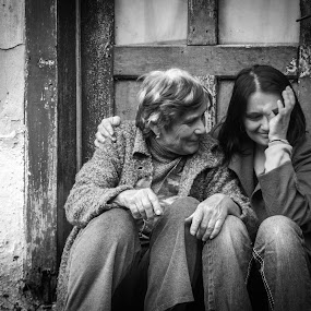 Memories at grandparents house by Valics Lehel - Black & White Street & Candid ( mother, dother, crying, memories, cry,  )
