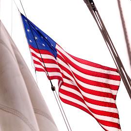 Flag over Sloop by Ginger Wlasuk - Transportation Other ( flag, american flag, sloop, sailing ship )