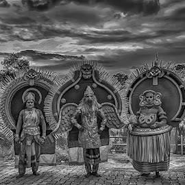 by Syam Kumar - People Group/Corporate ( sky, theyyam, nature, black and white, evening, river )