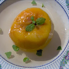 Poached Peaches in Mint Syrup