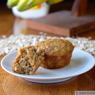 Honey Banana Soaked Oat Muffins