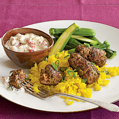 Quick Lamb Kofta with Harissa Yogurt Sauce