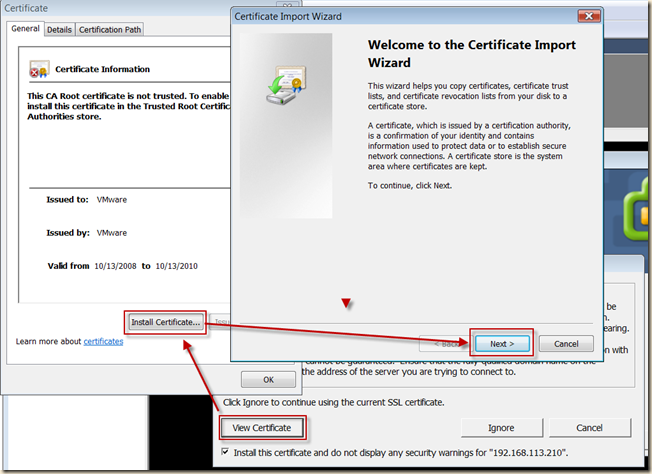 Annoying Security Warnings – Importing certificates in Vista