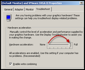 Setting Full Hardware Acceleration with VBS in a POST P2V script.