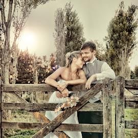 happy waiting by Zeke Garcia - Wedding Bride & Groom ( field, love, married )