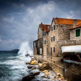 Nostalgia by Alan Grubelić - Buildings & Architecture Other Exteriors ( clouds, old village, waves, seascape, rocks )