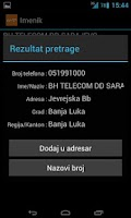 Screenshot of BH Telecom Imenik