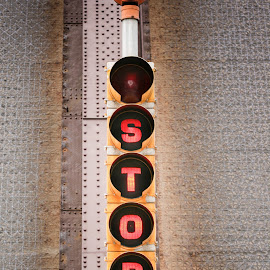 Stop by Jennifer Bacon - Artistic Objects Signs ( lights, sign, stop, artistic object, bridge )