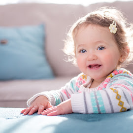 Bright Baby by Mike DeMicco - Babies & Children Child Portraits ( playful, bright, innocent, beautiful, little, cute, pretty, kid, child, sweet, girl, happy, family, childhood, baby )
