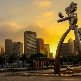 Traveling Man Dallas by Kip Schmidt - City,  Street & Park  Skylines ( sculpture, skyline, sunset, dallas, cityscape, storm )