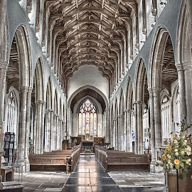 The Arches by Jan Murphy - Buildings & Architecture Places of Worship ( lights, reflection, church, window, aisle, seats, windows, flowers, worship, stained glass, pillars )