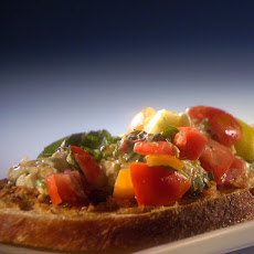 Fiery Summer Bruschetta with Zesty Olive Spread and Spicy Candied Bacon