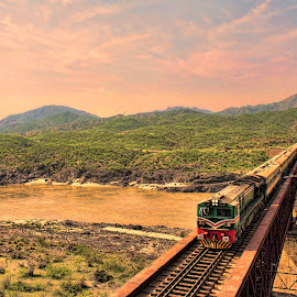 Train over Indus River by Agha Ahmed - Transportation Trains ( hills, mountains, railroad tracks, railway, waterscape, train, architecture, bridge, landscape, indus, river )