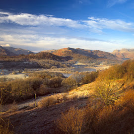 Elterwater, Cumbria, England by Simon Harding - Landscapes Mountains & Hills ( hills, cumbria, frost, simon harding, morning, landscape, lake district, december, england, mountains, winter, cold, english, pentax 67 ii )