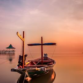 Woodboat by Yossy Ryananta - Transportation Boats ( calm, beach, boat, morning, filter, slow shutter )