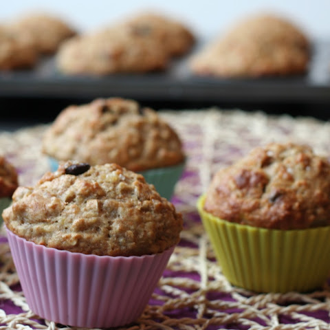 Whole Wheat Chocolate Chip Banana Oat Muffins