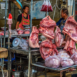 The Butchers Shop by Stuart Lilley - City,  Street & Park  Street Scenes ( shop, hdr, meat, thailand, butchers,  )