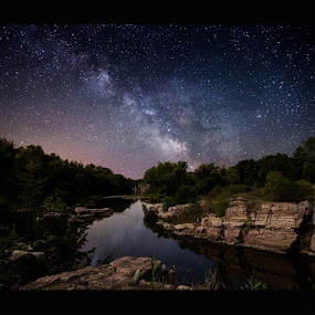 Palisades under the stars by Aaron Groen - Landscapes Nightscapes ( palisades, stars, homegroen photography, split rock creek, south dakota, milky way stars, south dakota state park, milky way )